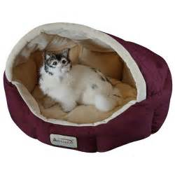 18 inch burgundy beige small dog cat bed by armarkat