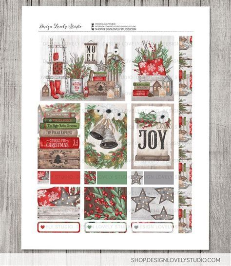 big happy planner christmas stickers kit printable