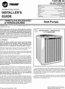 Trane Air Conditioner  Heat Pump Outside Unit  Manual L0802029