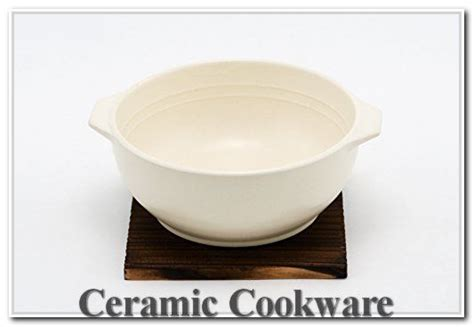 hinomaru collection quality ceramic stovetop pot bowl  handle  wood base casserole  fl