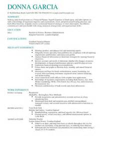 Resume Template For Retail Certified Financial Planner Cv Exle Livecareer