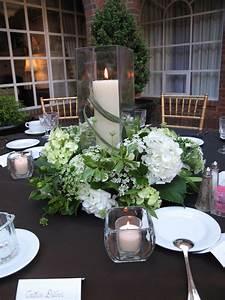 Green white wedding candle centerpiece   Williamsburg Floral