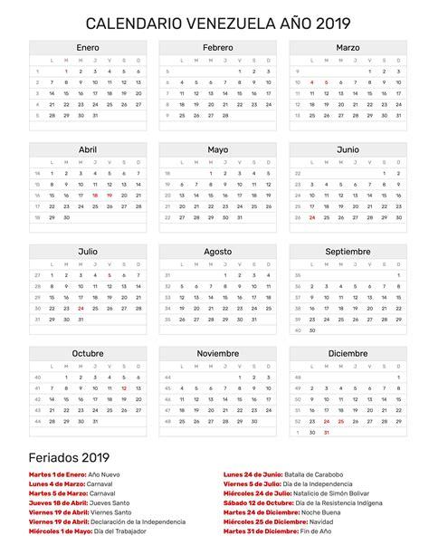 calendario venezuela ano feriados
