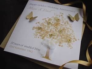 handmade personalised golden wedding anniversary card ebay With images of golden wedding anniversary cards