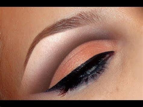 natural peach cut crease makeup tutorial  wedding bridal   youtube