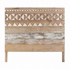 Tete De Lit Maison : t te de lit motifs en bois recycl l 140 cm tikka ~ Zukunftsfamilie.com Idées de Décoration