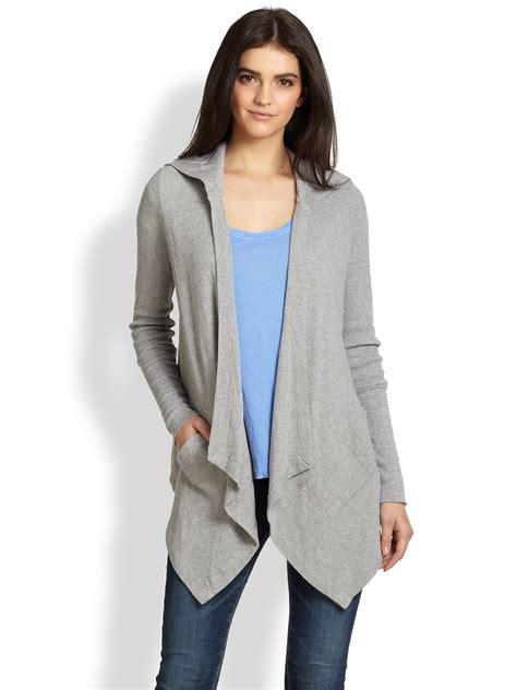 Grey Draped Cardigan - splendid draped hooded thermal cardigan in gray