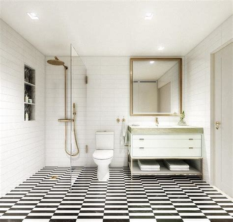 Black And White Tiled Bathroom Floor by Gold And Black Bathroom With Gold Rivet Medicine Cabinets
