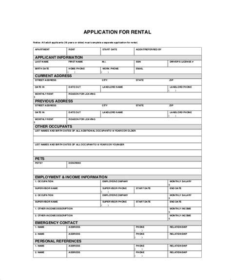 Apartment Lease Application Template by Apartment Application 7 Free Pdf Word Documents