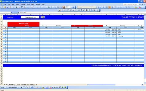 excel class schedule template weekly class schedule excel templates
