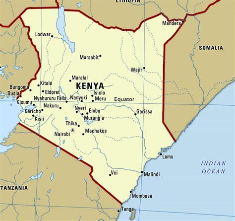 large map  kenya  cities kenya africa mapsland