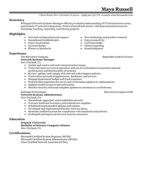Network Infrastructure Project Manager Resume by Network Systems Manager Resume Exles It Resume Sles Livecareer