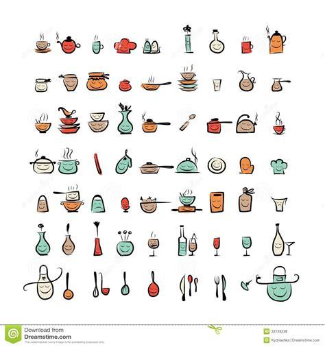 dessin d ustensiles de cuisine caractères d 39 ustensiles de cuisine icônes de dessin de