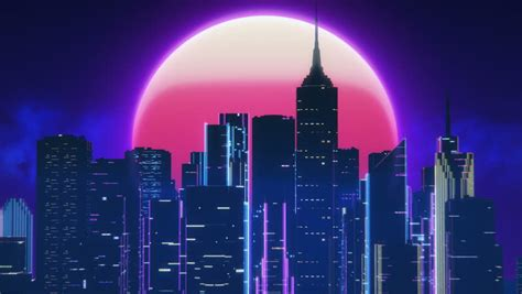 synthwave city  pink moon stock footage video