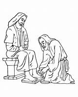 Coloring Jesus Feet Pages Foot Clipart Washing Printable Thursday Holy Washes Disciples Clip Easter Cliparts Maundy Catholic Washed Library Cross sketch template