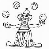Clown Coloring Characters Shoes Juggling Clowns Juggler Getdrawings Balls sketch template