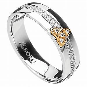 irish ring 10k trinity knot cz wide band irish wedding With irish wedding ring