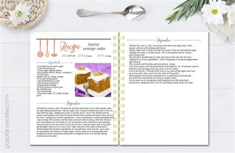 cookbook template editable cook book recipe template recipe pages pattern