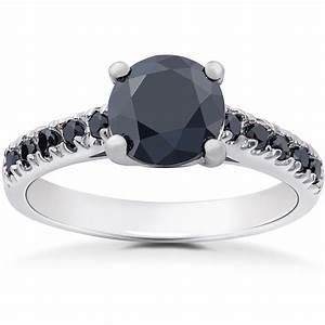 2 1 4 ct black diamond solitaire accent engagement ring With wedding ring with black diamond accents