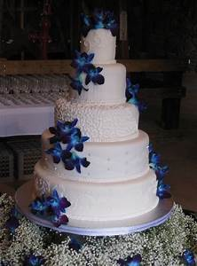 Gorgeous Wedding Cake with Beautiful Royal Blue Orchids ...