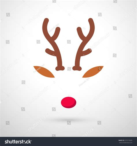 reindeer with red nose template vector illustration