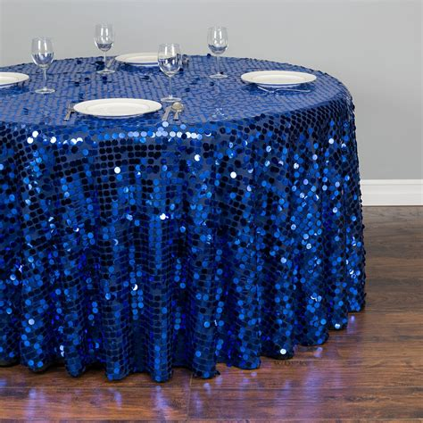 royal blue table linens 120 in round payette sequin tablecloth royal blue