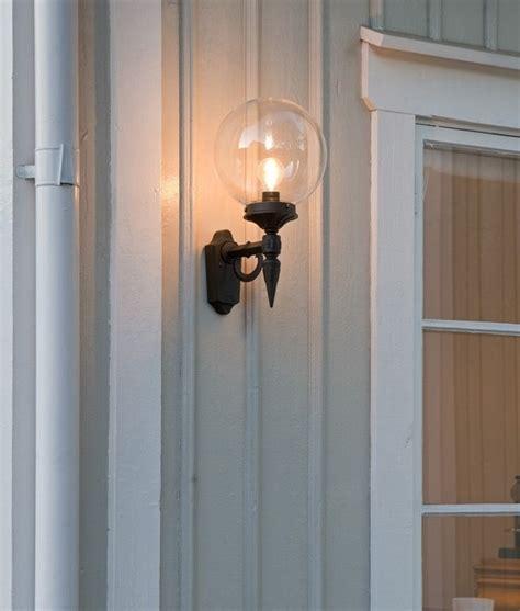 clear glass globe shade outdoor wall light