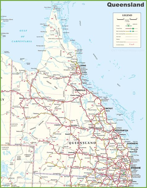 large detailed map  queensland  cities  towns