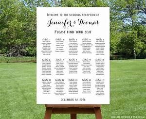 Printable Large Wedding Seating Chart Black White