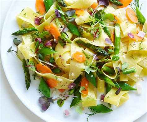 pappardelle with spring vegetables recipe finecooking