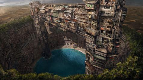building fantasy art pond city underground wallpapers