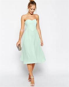 asos bandeau midi dress with wiggle hem wedding With wedding guest midi dresses