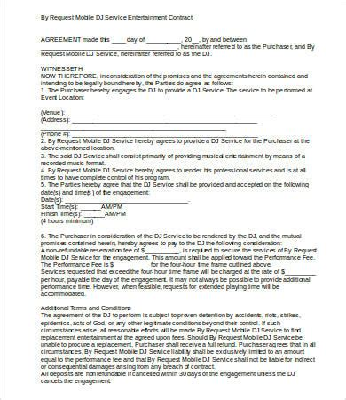 Mobile Dj Contract Template by Dj Contract 16 Free Word Pdf Documents Free