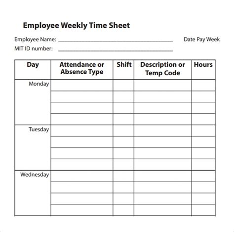 Time Sheet Template Easy Timesheet Template Invitation Template