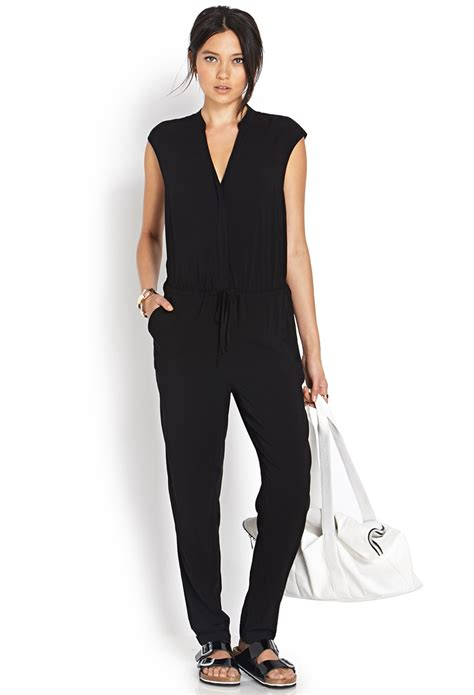 jumpsuit forever 21 lyst forever 21 refined buttoned jumpsuit in black