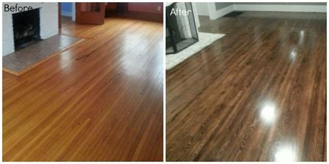 Before and after, refinishing hardwood oak floors. Dark