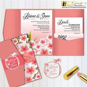 Printed plumeria beach pocketfold wedding 8 piece invitation for Printed pocketfold wedding invitations