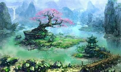 Bonsai Tree Trees Fantasy Asian Artwork Waterfall