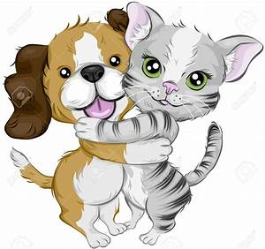 Hug clipart dog and cat - Pencil and in color hug clipart ...