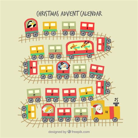 christmas advent calendar template psd christmas train advent calendar vector free download