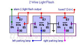 light flash two wire german vehicles weak negative output from alarm keyless entry relay