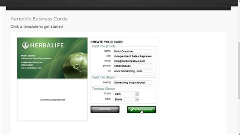 herbalife business card template ordering youtube