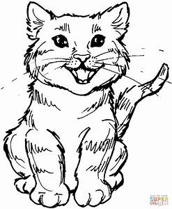 Meowing Kitten Coloring Page