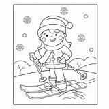 Coloring Cartoon Skiing Winter Outline Ski Sports Boy Sporty Zimowe Della Het Fille Ragazza Fumetto Profilo Azzurro Imbarco Corsa Coloritura sketch template