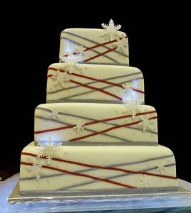 Red and Silver Wedding with Snowflakes - 612F - Cake ...