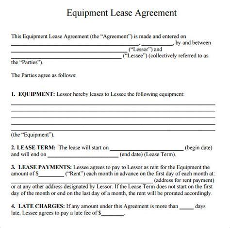 sample equipment rental agreement template