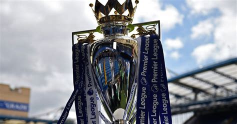 Premier League trophy decorated in Chelsea colours and ...