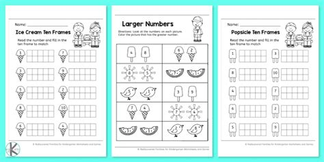 summer kindergarten worksheets  practice math