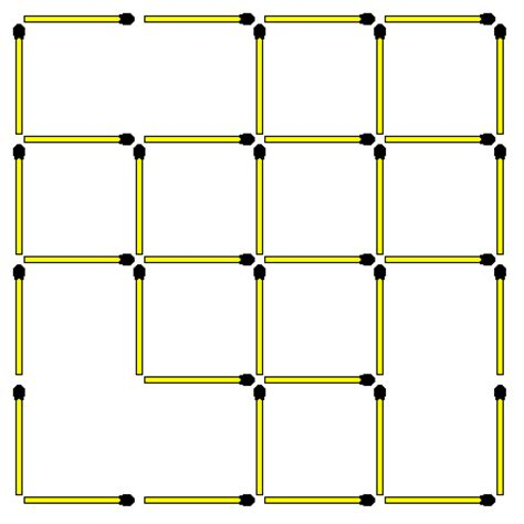 how many square in a square matchstick puzzles 55 square 4x4 how many squares