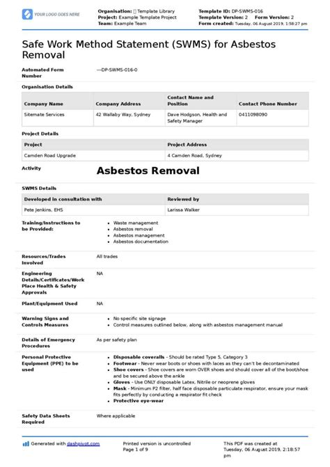 asbestos safe work method statement  asbestos removal